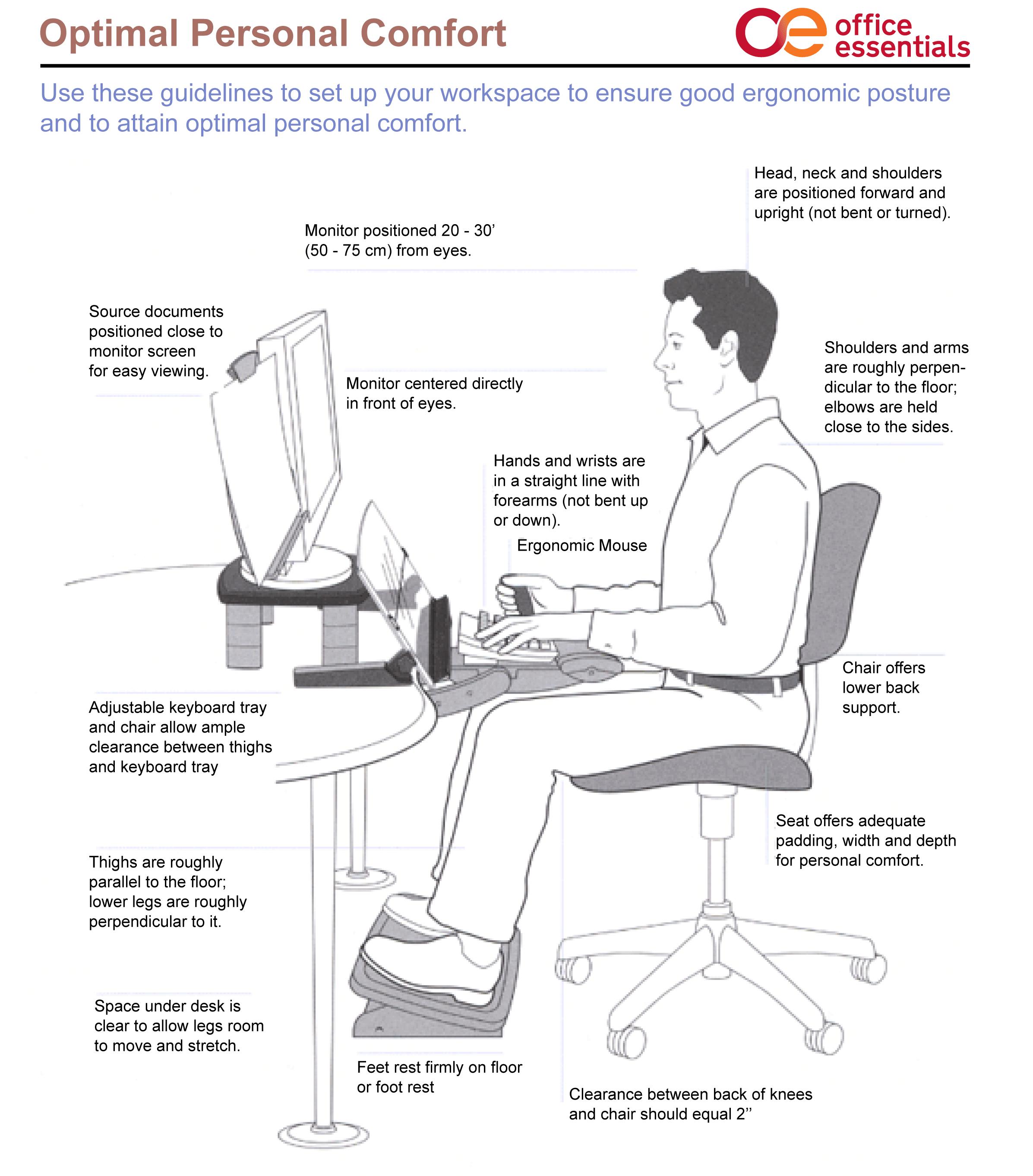 Good Ergonomic posture tips for optimal comfort at work