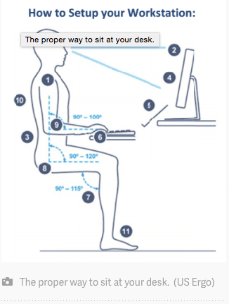 how to sit correctly at work