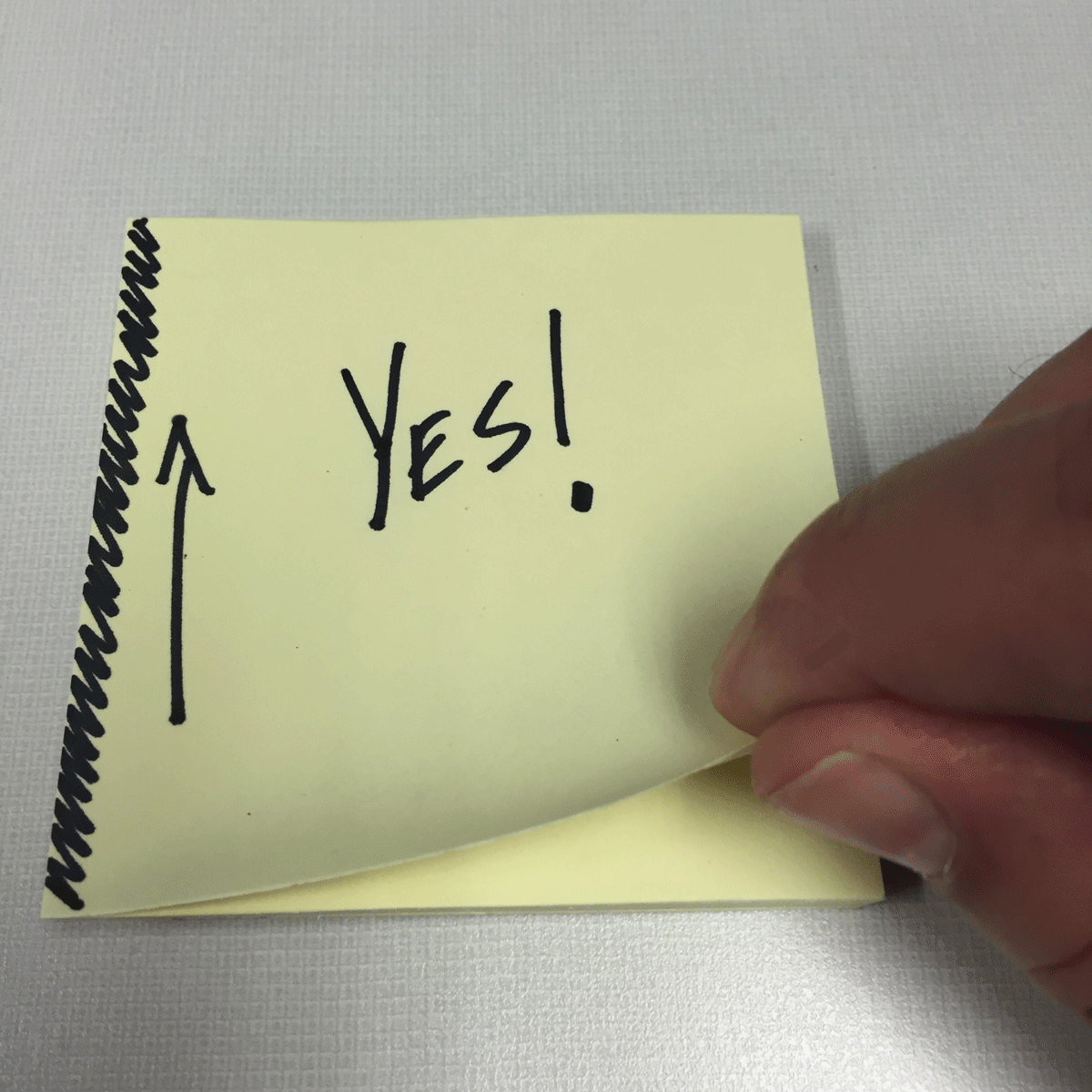 The right way to peel post-it notes